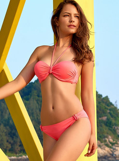 Sexy Pure Color Halter Tied Pleated Bikini