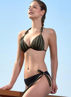 Color-blocked Striped Halter Tied Backless Bikini