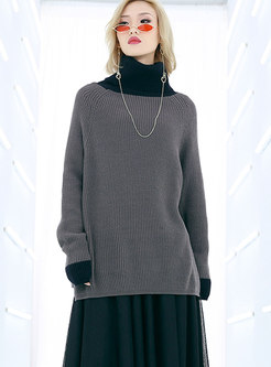 Chic Stitching Turtle Neck Hit Color Top