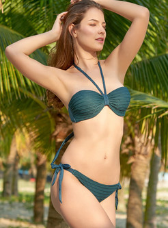 Sexy Halter Tied Pleated Micro Gathered Bikini
