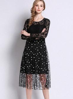 Fashion Black Sexy Three Quarters Sleeve Mesh Dress