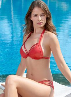 Fashion Halter Tied Pure Color Triangle Bikini