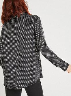 Black Turn-down Collar Stitching Lace Blouse