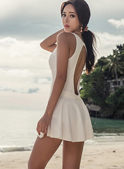 Solid Color Perspective Backless One Piece Swimwear