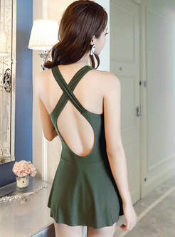 Sexy Pure Color V-neck Backless Cover-up Swimwear