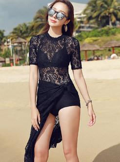 O-neck Short Sleeve Perspective Lace Cover-up Swimwear