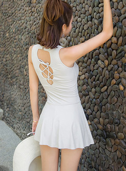 Mesh Splicing Backless Tied One Piece Outfits