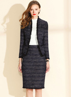 Elegant Long Sleeve Tassel Slim Coat & High Waist Sheath Skirt