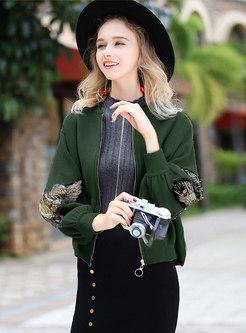 Casual Wings Pattern Lantern Sleeve Zipper Short Coat