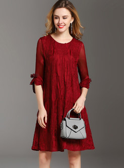 O-neck Bowknot Three Quarters Sleeve Shift Dress