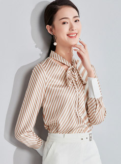 Chic Striped Tie-collar Slim Chiffon Blouse