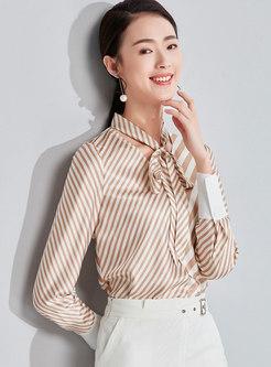 Chic Striped Tie-collar Slim Chiffon Blouse