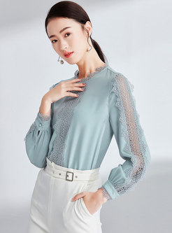 Elegant Splicing Hollow Out Pullover Blouse