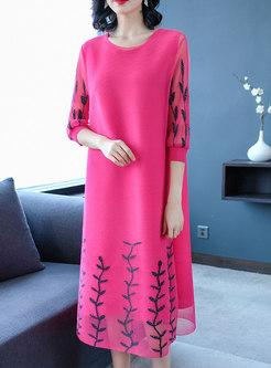 Fashion Solid Color Half Sleeve Beaded Dress