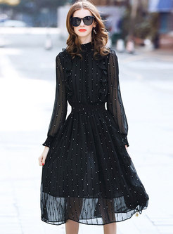 Black Polka Dot Stand Collar Gathered Waist Skater Dress