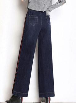 Color-blocked Elastic Waist Tied Plus Size Wide Leg Pants