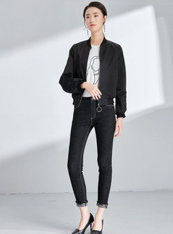 Casual Black Stand Collar Zipper Short Straight Coat