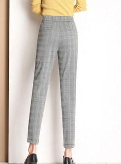 Elastic High Waist Plaid Harem Pants With Metal