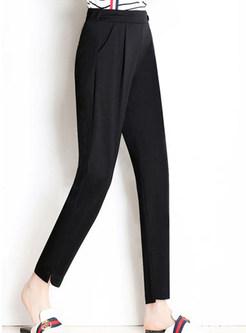Brief Solid Color Plus Size Casual Harem Pants