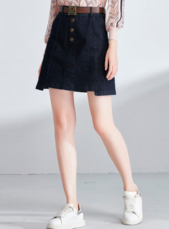 Blue Denim High Waist Asymmetric Mini Skirt