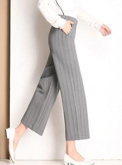 Elastic High Waist Striped Wide Leg Pants