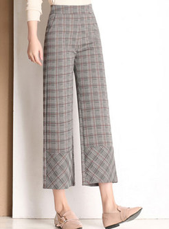Casual Elastic Waist Plaid Wide Leg Pants With Pocket