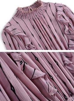 Sweet Stand Collar Gathered Waist Falbala Skater Dress