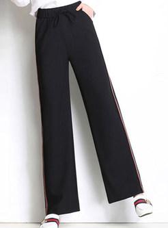Color-blocked Elastic Waist Tied Wide Leg Pants