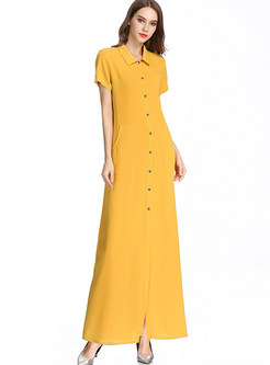 Casual Lapel Short Sleeve Single-breasted Maxi Dress