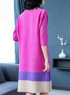 Fashion Hit Color Pleated Long Sleeve Dress