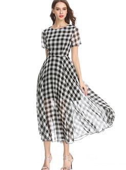 Color-blocked Plaid High Waist Chiffon Maxi Dress