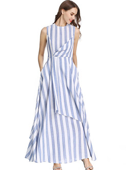 O-neck Sleeveless Striped Irregular Maxi Dress