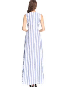 O-neck Sleeveless Striped Irregular Big Hem Dress