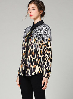 Lapel Long Sleeve Single-breasted Leopard Blouse