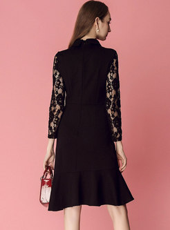 Sexy Lace See-through Single-breasted Falbala Slim Dress