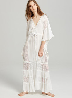 Bohemia White Deep V-neck Loose Perspective Maxi Dress