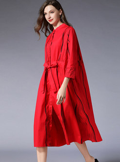 Fashion Red Solid Printed Striped Dress With Belt