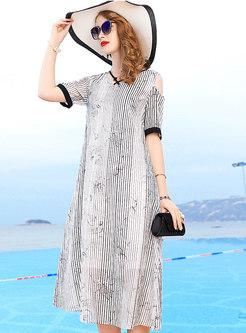 Fashion Black-white Blocked V-neck Off Shoulder Dress