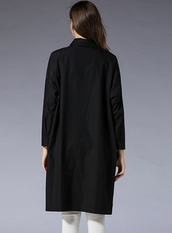 Brief Black Turn-down Collar Buttoned T-Shirt Dress