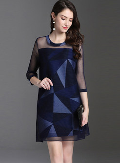 Geometric Print Plus Size Pleated Mini Dress