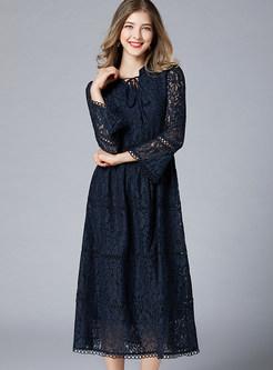 V-neck Plus Size Big Hem Lace Maxi Dress