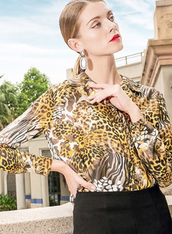 Trendy OL Leopard Long Sleeve Cardigan Blouse