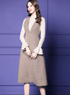 Fashion Flare Sleeve Knitted Top & High Waist A Line Strap Dress