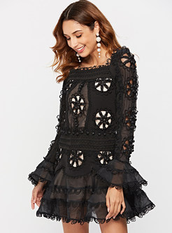 Sexy Square Neck Flare Sleeve Skater Dress