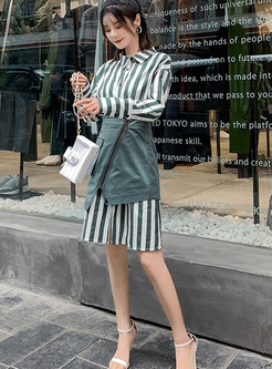 Striped Single-breasted Shirt Dress & High Waist Asymmetric Skirt