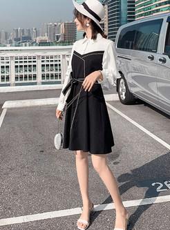 Fashion Color-blocked Lapel Splicing Waist Skater Dress