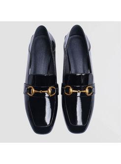 Stylish Black Buckle Genuine Leather Flat Loafers