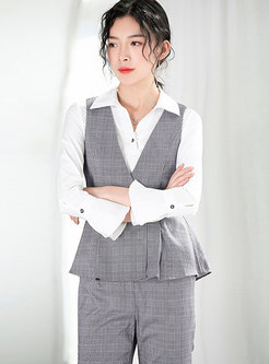 Stylish Turn-down Collar Top & Plaid Wide-leg Pants