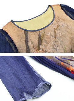 Light Purple Crew-neck Silk Perspective Dress