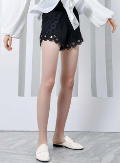 Stylish Black Lace-paneled High Waist Shorts